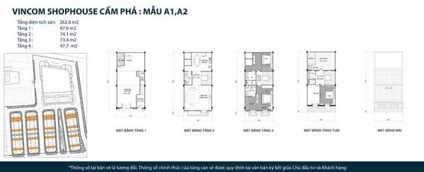 Thiết kế chi tiết mẫu shophouse mẫu A1, A2 tại dự án tổ hợp nhà phố thương mại Vincom Shophouse