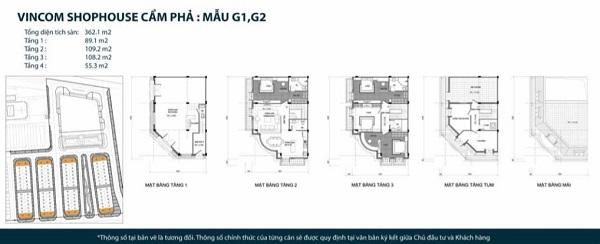 Thiết kế chi tiết mẫu shophouse mẫu G1, G2 tại dự án tổ hợp nhà phố thương mại Vincom Shophouse