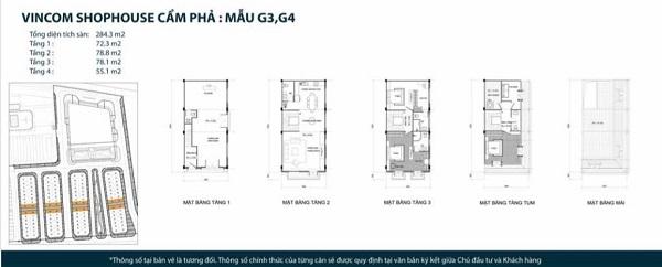 Thiết kế chi tiết mẫu shophouse mẫu G3, G4 tại dự án tổ hợp nhà phố thương mại Vincom Shophouse