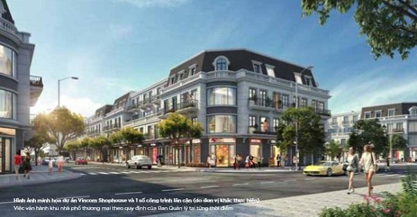 Phối cảnh dãy nhà phố thương mại shophouse tại dự án tổ hợp nhà phố thương mại Vincom Shophouse