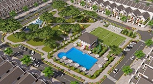 Phối cảnh hồ bơi, khu công viên trung tâm và khu thể dục thể thao tại dự án khu dân cư Phú Mỹ Lộc