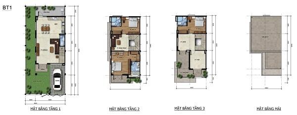 Mặt bằng chi tiết biệt thự diện tích 144 m2 tại dự án tổ hợp biệt thự, nhà phố Venita Park