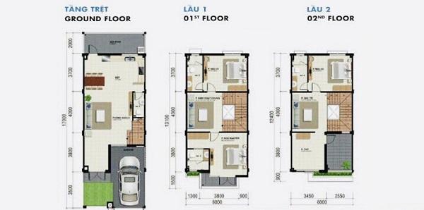 Mặt bằng chi tiết nhà phố diện tích 102 m2 tại dự án tổ hợp biệt thự, nhà phố Venita Park