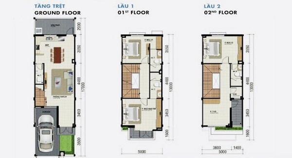 Mặt bằng chi tiết nhà phố diện tích 85 m2 tại dự án tổ hợp biệt thự, nhà phố Venita Park