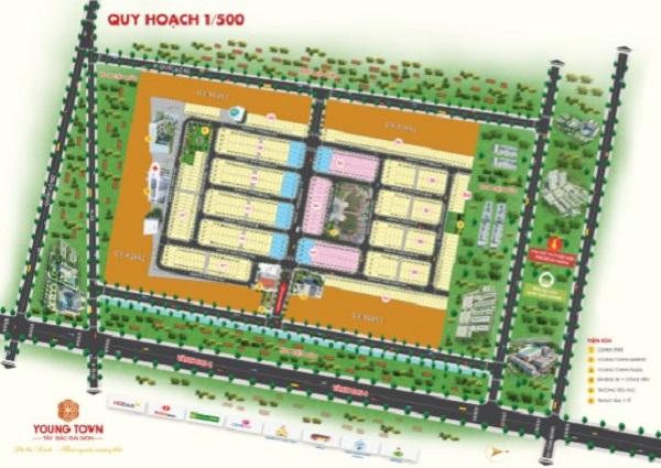 Mặt bằng tổng thể quy hoạch 1/500 dự án Young Town Tây Bắc Sài Gòn