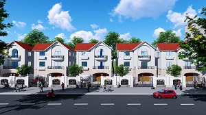 Phối cảnh dãy biệt thự tại dự án khu đô thị Mỹ Tho Riverside