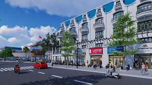 Phối cảnh dãy nhà phố thương mại shophouse tại dự án khu đô thị Mỹ Tho Riverside