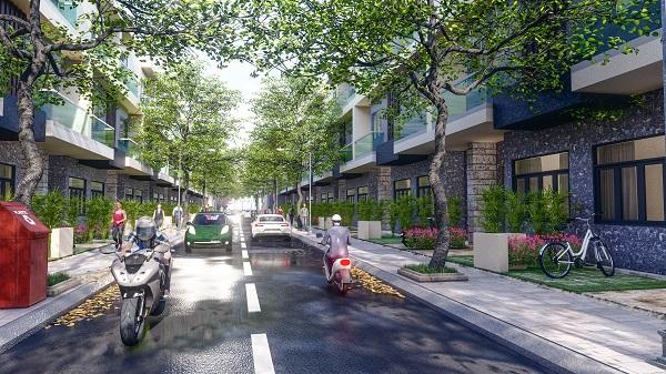 Phối cảnh đường nội khu và dãy nhà tại dự án Trường An Riverside
