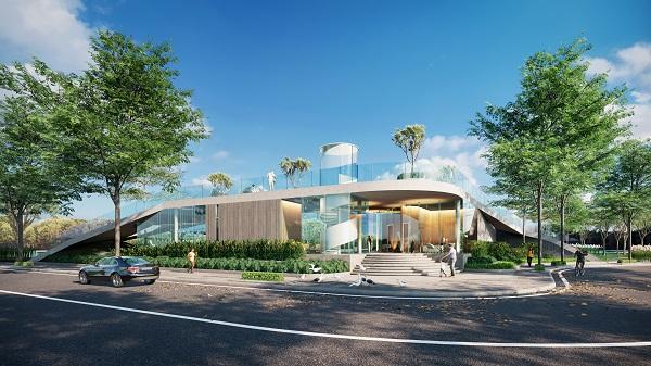 Phối cảnh đường nội khu và hồ bơi tại dự án Gs Metrocity
