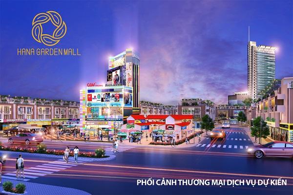 Phối cảnh khu thương mại dịch vụ tại dự án khu phức hợp Hana Garden Mall