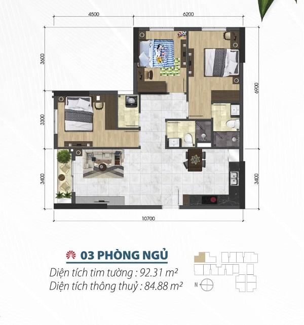 Thiết kế chi tiết căn hộ 3 phòng ngủ tại dự án Saigon Asiana