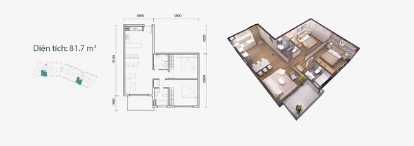 Thiết kế chi tiết căn hộ loại B Ocean Vista