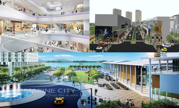 Phối cảnh trung tâm thương mại tại dự án khu đô thị Marine City
