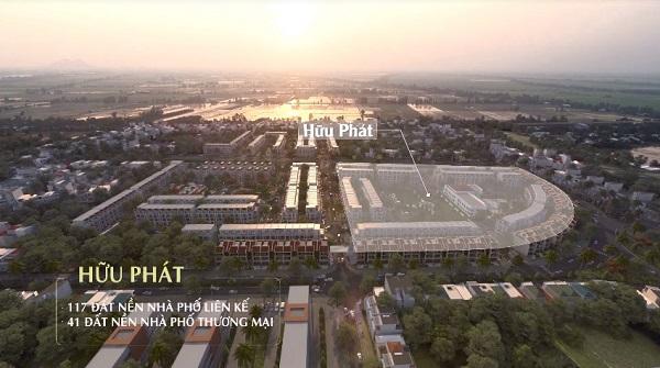 Phân khu Hữu Phát với 117 nền đất nhà phố liên kế và 41 nền đất nhà phố thương mại