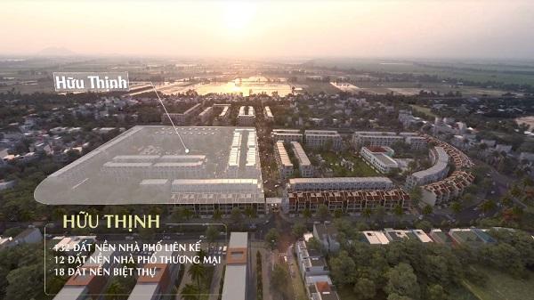 Phân khu Hữu Thịnh với 132 nền đất nhà phố liên kế, 12 nền đất nhà phố thương mại và 18 nền đất biệt thự