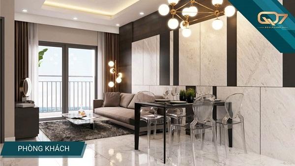 Phối cảnh phòng khách, phòng làm việc và phòng ngủ tại dự án Q7 Boulevard