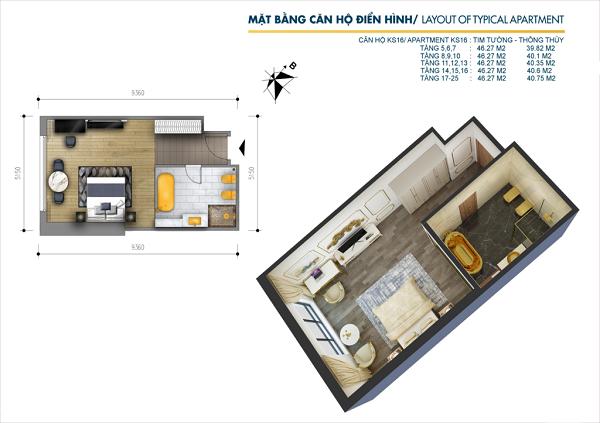 Thiết kế chi tiết căn hộ 1PN tại dự án tổ hợp khách sạn và căn hộ Hà Nội Golden Lake