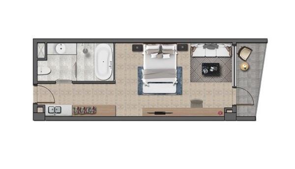 Thiết kế chi tiết căn hộ khách sạn Layout A - 48 m2 tại dự án Wyndham Tropicana