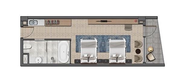 Thiết kế chi tiết căn hộ khách sạn Layout B - 48 m2 tại dự án Wyndham Tropicana