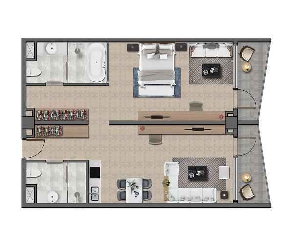 Thiết kế chi tiết căn hộ khách sạn Layout C - 98 m2 tại dự án Wyndham Tropicana