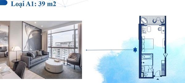 Thiết kế chi tiết căn hộ loại A1 39 m2