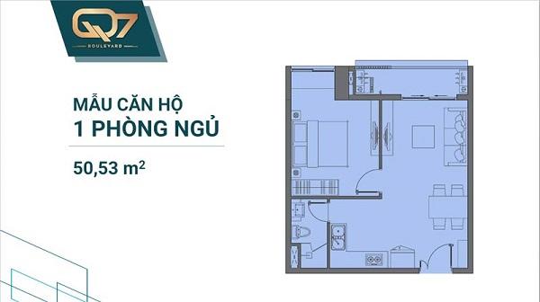 Thiết kế chi tiết mẫu căn hộ 1PN tại dự án Q7 Boulevard