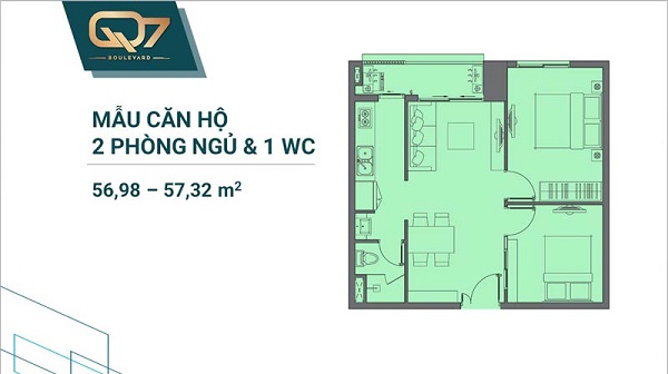 Thiết kế chi tiết mẫu căn hộ 2PN và 1WC tại dự án Q7 Boulevard
