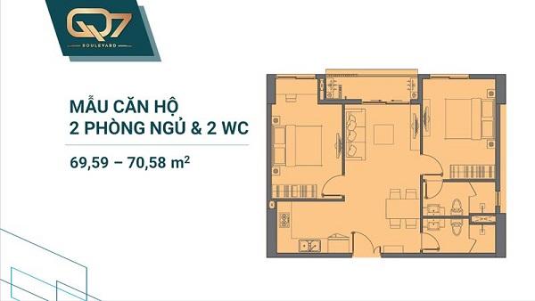 Thiết kế chi tiết mẫu căn hộ 2PN và 2WC tại dự án Q7 Boulevard