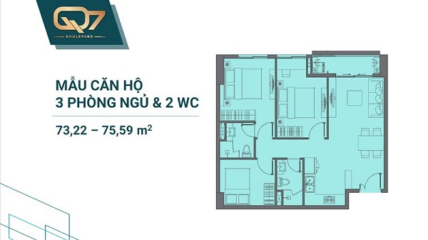 Thiết kế chi tiết mẫu căn hộ 3PN và 2WC tại dự án Q7 Boulevard