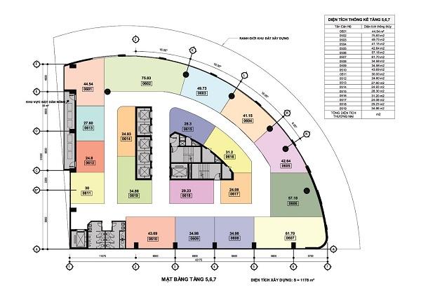 Mặt bằng tổng thể từ tầng 1 – tầng 15 dự án Apec Mandala Wyndham Hải Dương