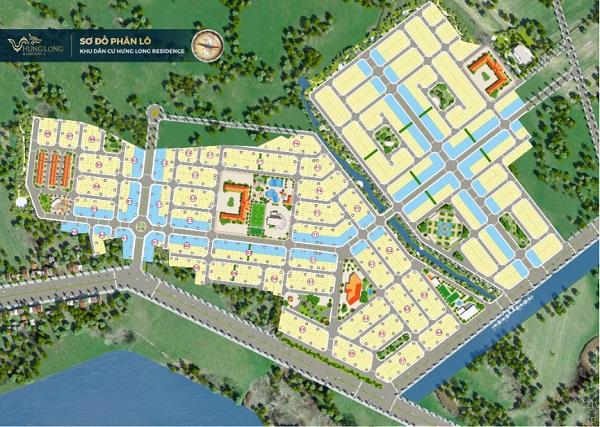 Sơ đồ phân lô dự án khu dân cư Hưng Long Residence