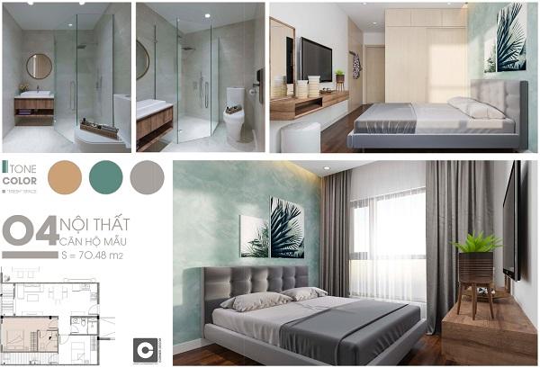 Mặt bằng chi tiết và phối cảnh căn hộ 70,48 m2 dự án C SkyView