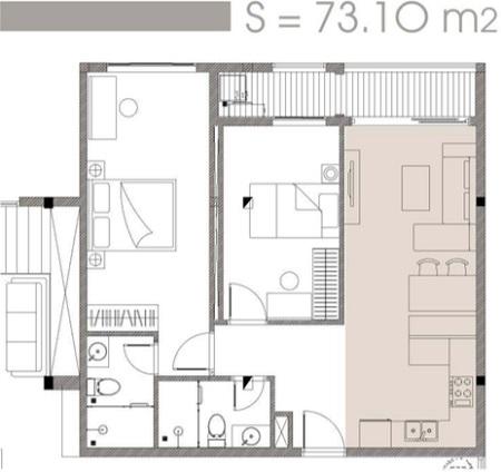 Mặt bằng chi tiết và phối cảnh căn hộ 73,10 m2 dự án C SkyView