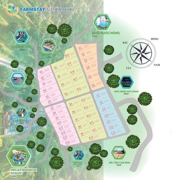 Mặt bằng tổng thể dự án khu trang trại và nghỉ dưỡng Farmstay G7