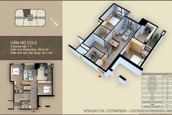 Thiết kế chi tiết căn hộ 2 phòng ngủ dự án Vinata Tower