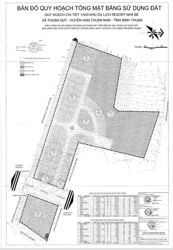 Bản đồ quy hoạch tổng mặt bằng sử dụng đất tỷ lệ 1/500 dự án tổ hợp nghỉ dưỡng Tropical Ocean Villa & Resort