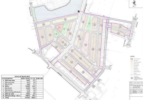 Mặt bằng phân lô chi tiết 1/500 dự án khu đô thị Việt Yên Lakeside City