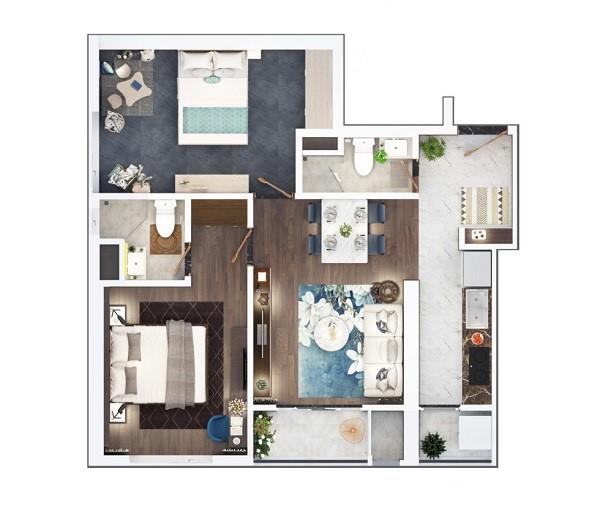 Thiết kế chi tiết căn hộ 2 phòng ngủ diện tích 68.7 m2 dự án The Terra An Hưng