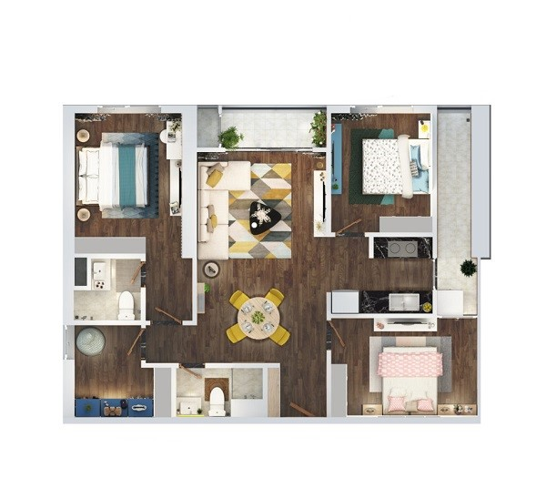 Thiết kế chi tiết căn hộ 3 phòng ngủ diện tích 96.6 m2 dự án The Terra An Hưng