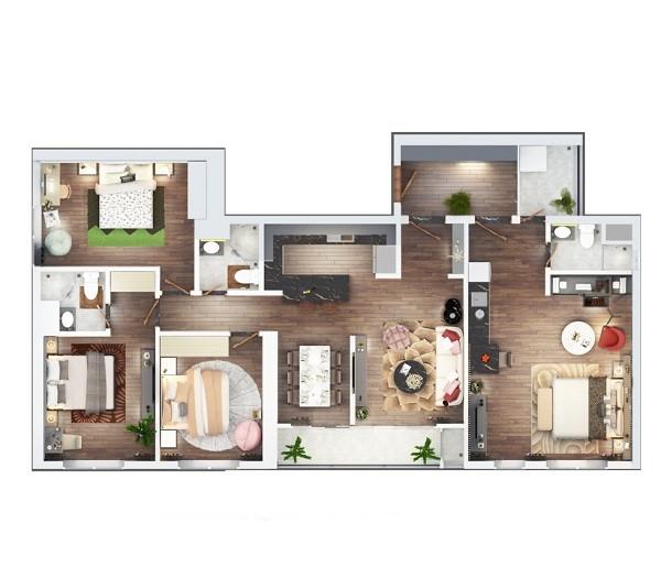 Thiết kế chi tiết căn hộ Dual Key diện tích 140.8 m2 dự án The Terra An Hưng