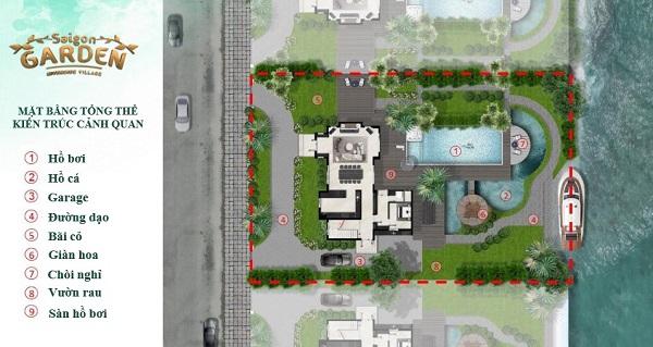 Mặt bằng tổng thể cảnh quan biệt thự dự án Saigon Garden Riverside Village