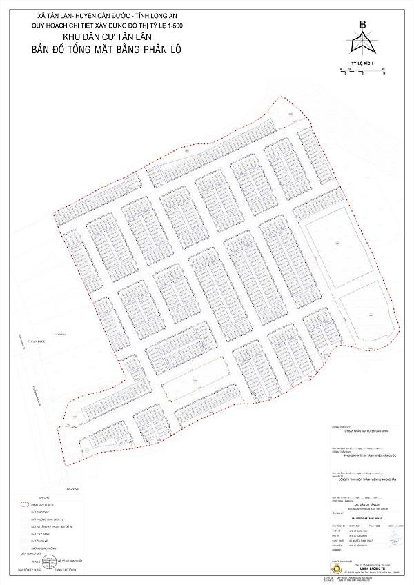 Mặt bằng quy hoạch tỷ lệ 1/500 dự án khu dân cư Tân Lân