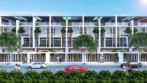 Phối cảnh cổng chào và dãy nhà tại dự án khu dân cư Lotus New City