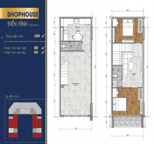 Thiết kế chi tiết căn shophouse dự án Thịnh Gia Tower