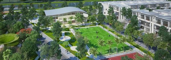 Phối cảnh dãy nhà và tiện ích nội khu dự án khu nhà ở Nam An