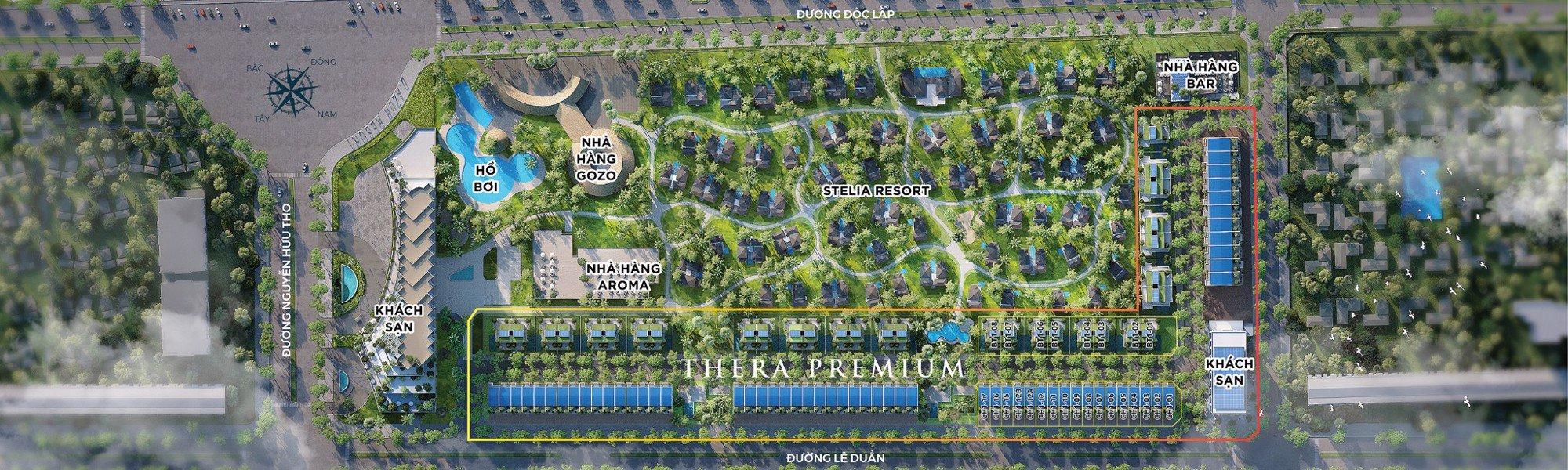 Mặt bằng phân khu dự án Thera Premium thuộc tổng thể dự án Việt Beach Resort