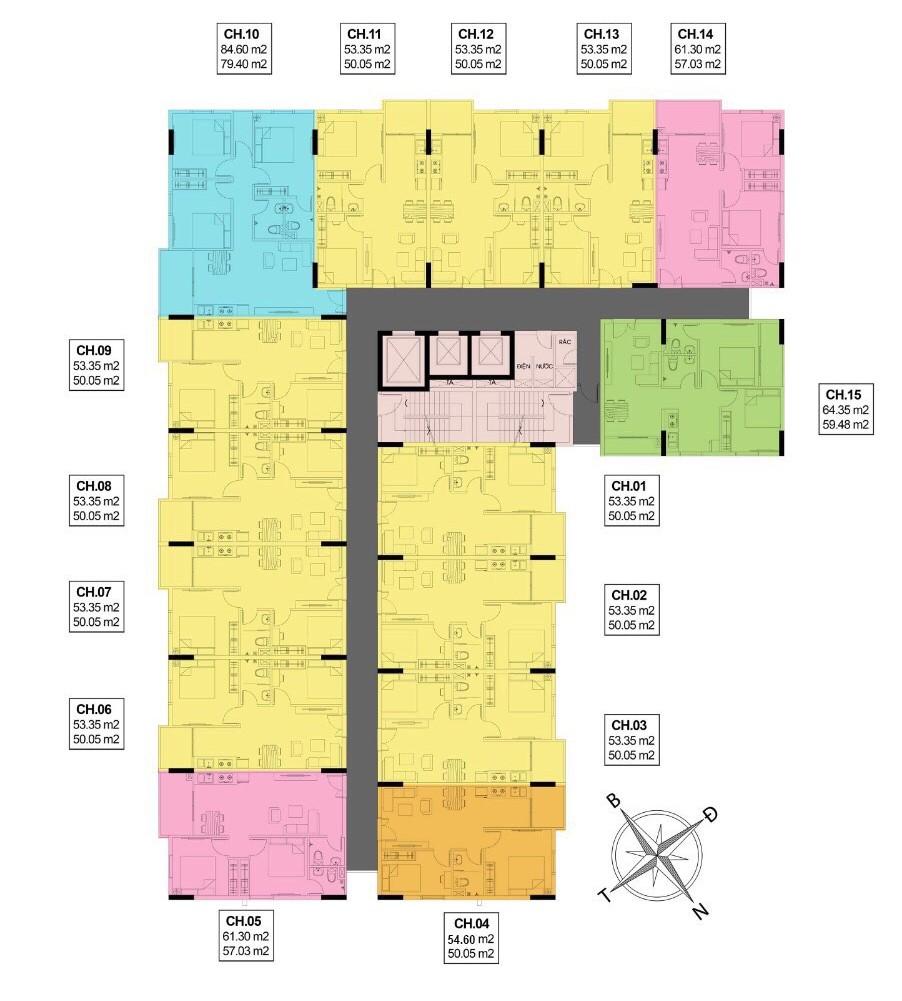 Mặt bằng tầng điển hình dự án căn hộ SPlus Riverview