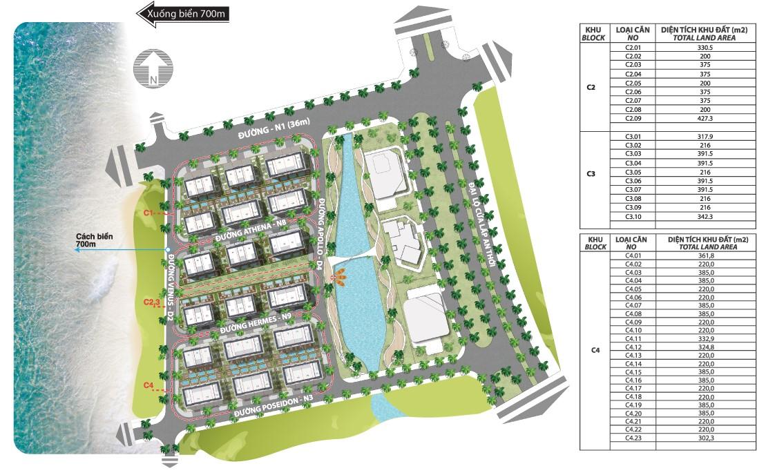 Mặt bằng tổng thể khu khách sạn The Oceanid Luxury Phú Quốc