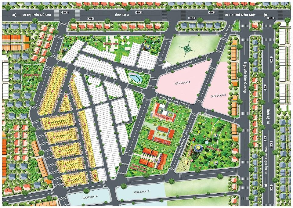 Mặt bằng phân lô dự án Golden City Củ Chi