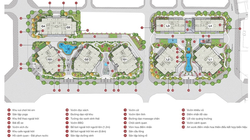 Mặt bằng tổng thể dự án tổ hợp căn hộ, thương mại Le Grand Jardin